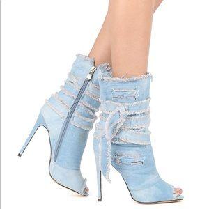 Liliana Denim Open Toe Heels